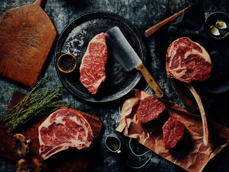 overhead shot of best steaks